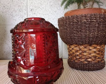 Ruby red hurricane candle holder