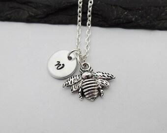 Bee Necklace, Initial Bee Necklace, Initial Necklace, Bee Gift, Charm Necklace, Bee Jewellery, Bee Gifts, Bee Jewelry, Bee Keeper,Bumble Bee