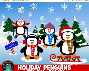 75% OFF SALE Penguin Clipart, Penguins Clip Art, Sled Clipart - UZ890