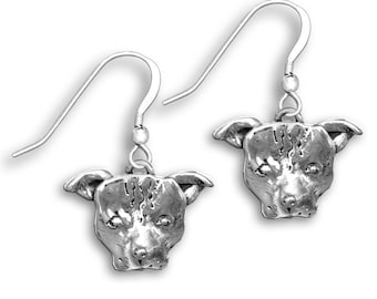 Sterling Silver Pit Bull Earrings