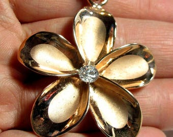 "Plumeria Hawaiian Flower Pendant Rose Gold Plated Sterling Silver 925 w/ CZ 2"""