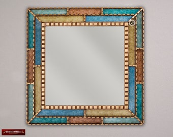 "Handcrafted Decorative Mirror 24"" from Peru, Bathroom Mirror for wall decor, Turquoise Ornate Mirror, Painted glass with golden wood framed"