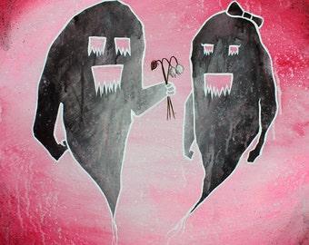Please Be Mine - 8x10 Art Print - Shadow Monster Couple with Dead Flowers - Art by Marcia Furman