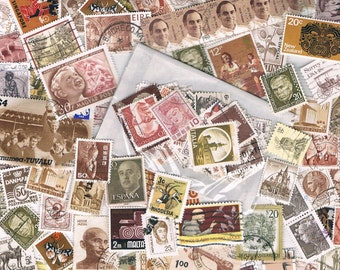 Brown & neutral postage stamps, vintage + more recent, used world stamps for crafting, collage, upcycling or collecting - all off paper