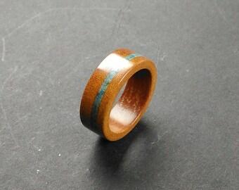 Garapa Wood Ring Scorzalite Inlay Handmade Alternative Ring - Size 17.10 mm (USA 6 3/4)