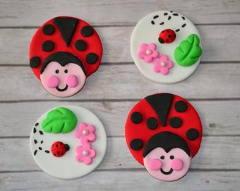Cute Ladybug cupcake toppers - 12