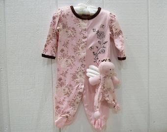 Baby 2pcs Sleep and Play Pink Footed Pajamas with Matching Plush
