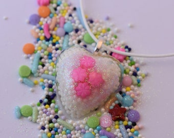 Heart Sprinkle Pendant Necklace. Real Sprinkles! White Nonpareils, Pink Flower Sprinkles and Glitter in Resin. Wearable Candy! 25