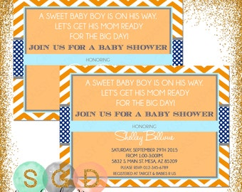 Boy Baby Shower Invite, Baby Shower invitation, chevron shower invite, digital invite, PDF invite, DIY invite, orange, blue (Item #18)