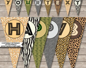 Safari Party Banner - Zoo Party - Happy Birthday Banner - Custom Banner - Party Decorations - Bunting - INSTANT DOWNLOAD with EDITABLE text
