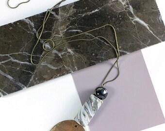 Wren Totem Neckace / bronze & ceramic