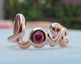 Rose Gold Love Ring- Ruby Statement Sterling Silver Ring- Boho Red Gemstone Ring- Bestfriend Love Word Ring- Unique July Birthstone Ring