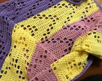 Crochet baby blanket - purple yellow pink-