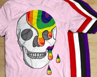 Gay Pride Skull T-Shirt | LGBT | Gay Pride | Tee | Unisex Mens Womens