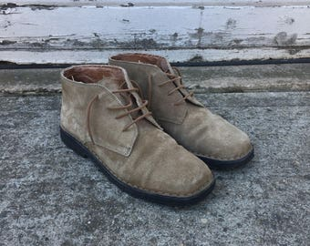 Vintage Timberland Brown Suede Chukka Low Boot Lace Up Shoes Leather Crepe Sole - Men's 10 M - Made in Italy