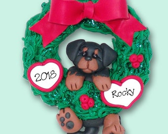 Rottweiler PUPPY Hanging in Wreath HANDMADE Polymer Clay Personalized Christmas Ornament
