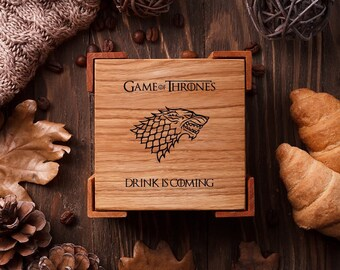 Game of Thrones gift Custom coasters Engraved coasters Wedding coasters favor Bridal shower gift Personalized coasters set Housewarming Gift