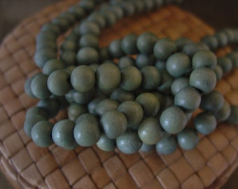 6 or 8 or 12 mm Round Wood Beads, Light Grey Color, 15inch Strand