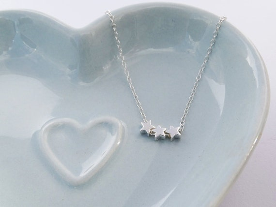Tiny Silver Stars Necklace - Sterling Silver - 3 Stars