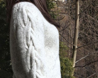 Light Spring pullover, loose knit sweater, knit short jumper, neutral clothing, natural fibers, hand knit, fluffy knit sweater