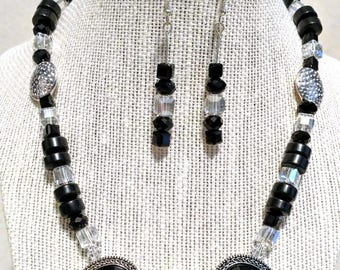 Black,Silver and Crystal Necklace and Earrings