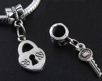 Heart Lock and Key, 2pc Large Hole Dangle Bead fits European Style Charm Bracelets & Necklaces, Big Hole Charm Beads, European Charm beads