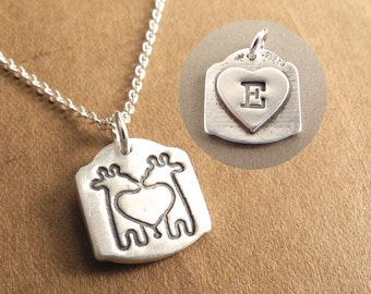 Personalized Mini Twin Giraffe Necklace, Heart Monogram, New Mom of Twins, Fine Silver, Sterling Silver Chain, Made To Order