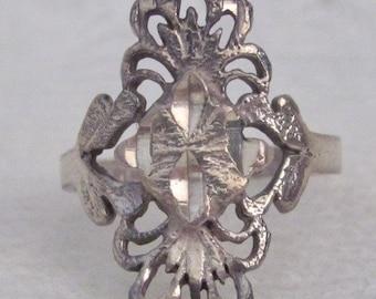 Vintage Sterling Silver Filagree Ring Size 6 Scroll Swirl Fan Design