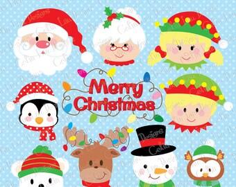 Christmas faces clipart, Christmas Santa , elf , snowman , Merry Christmas (CG202)