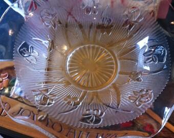 Iris & Herringbone Pattern Pressed Glass 12 Inch Bowl, Wavy Edged Open Fruit Bowl