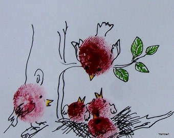 ACEO Print of thumb print created birds feeding baby birds in red