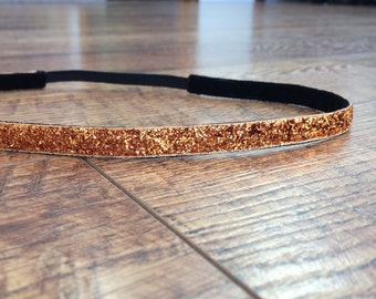 Orange headband. Orange sparkle headband, orange glitter headband, running headband, women's orange headband, girl's orange headband, orange