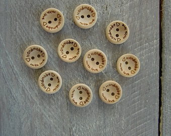 Set of 10 wooden buttons: handmade with love
