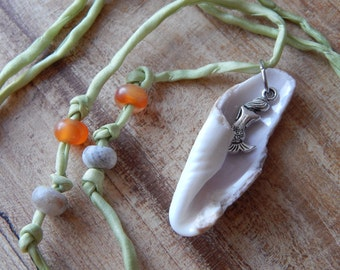 Sea Shell Necklace, Natural Sea Shell Pendant on Silk Ribbon, Florida Sea Shells and Jewelry, Ocean Necklace for Women, Handcrafted