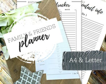 FAMILY & FRIENDS PLANNER - Printable planner - Instant Download - Home Management Binder - Home File - 54 page pdf in A4 and Letter sizes