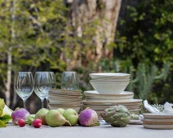 Pottery Dinnerware Set for 4 White Ceramic Dinnerware Handmade 4 Place Settings White Dinnerware Couples Wedding Gift Handmade Pottery
