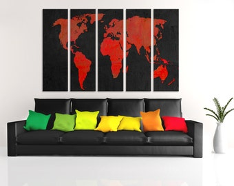 Black and red world map canvas print 4 piece panel split 5 panel split black and red world map canvas print wall art for home or office wall decor interior design with textured matte colors gumiabroncs Images