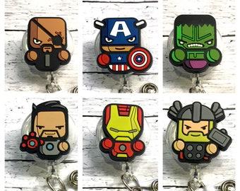 Avengers Marvel Inspired ID Badge Reels! Pick from Nick Fury, Tony Stark, Captain America, Iron Man, Hulk, or Thor! Great guy gift!
