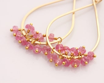 Pink Sapphire Earrings, Tear Drop, 14k Gold Filled, September Birthstone, Gemstone Cluster - Priscilla