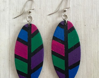 Color Blocked Wooden Earrings | Color Blocked Earrings | Blue Green Purple Fuschia Earrings | Handpainted Earrings