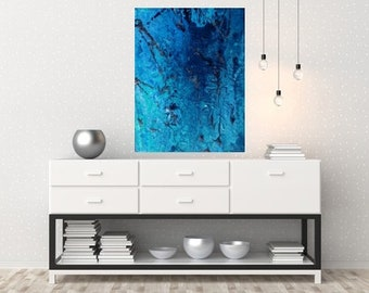 original artwork, abstract painting blue, silver, size 12 * 16