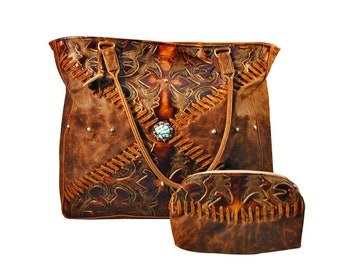 Western leather handbag.  Handmade in USA.