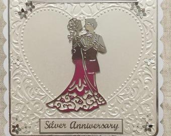 Silver wedding anniversary card / handmade card  / anniversary card / Silver Anniversary Card / Celebration Card