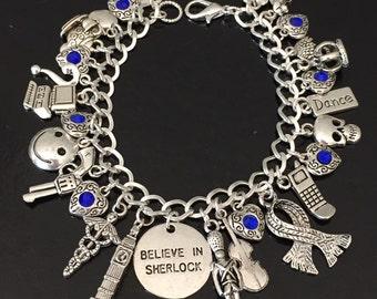 Believe in Sherlock Charm Bracelet, Sherlock Holmes, John Watson, Sir Arthur Conan Doyle, 221 Baker Street