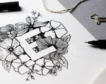 Alphabet Print / Floral / Botanical / Art Print / Custom Letter Print / Wall Art / Hand Lettered Print / Illustrated Print / Illustration