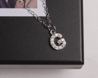 Pave G Initial Necklace - CZ stone silver pendant - Letter G Initial - Silver G Initial Necklace - Dainty sterling silver chain - custom