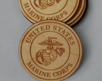 Set of 6 US Marine Corps Engraved Wood Coasters