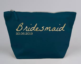 Personalised Bridesmaid with date / Wedding Favour Gift Bag / Large Zipped Make up / Toiletry Bag with foiled Text on a Cotton Canvas
