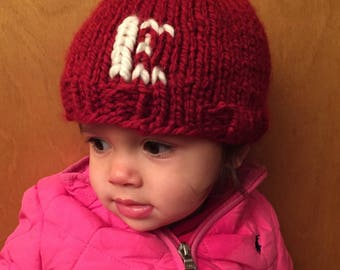 Red small Monogram pom pom Hat with Cream Letter, custom photo prop knit hat, customized letter hat, monogram beanie hat