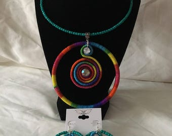 Rainbow Beaded Necklace and Earrings